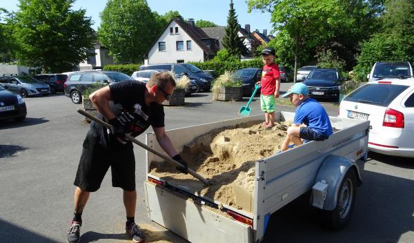Sandlieferung für den Fallschutz